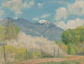 Paintings, Bert Geer Phillips (American, 1868-1956). Taos Mountains and Wild Plum Blossoms. Oil on panel. 18 x ...