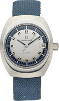 """Timepieces:Wristwatch, Universal Stainless Steel """"Polerouter III"""" Micro-Rotor Wristwatch Ref: 869125, circa 1969. ..."""