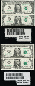 Small Size:Federal Reserve Notes, Label Set Fr. 1921-B $1 1995 Federal Reserve Notes. Choice Crisp Uncirculated;. Label Set Fr. 1931-L $1 2003A Federal Rese... (Total: 9 items)