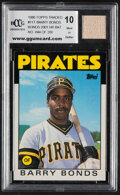 Baseball Cards:Singles (1970-Now), 1986 Topps Traded Barry Bonds (Game Used Bat From 2001 Season) #11T BCCG 10 Mint or Better - Limited Edition 44 of 200.
