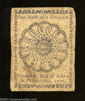Colonial Notes:Continental Congress Issues, Continental Congress Issue February 17, 1776 $1/6 Plate B ...