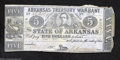 Obsoletes By State:Arkansas, Little Rock, AR- State of Arkansas $5 May 16, 1863
