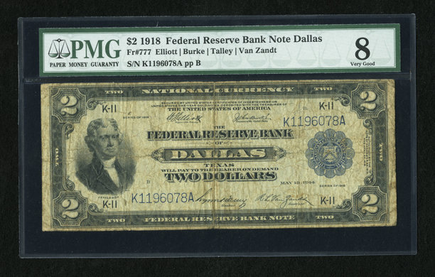 Fr  777 $2 1918 Federal Reserve Bank Note PMG Very Good 8