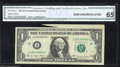 Error Notes:Attached Tabs, Fr. 1910-J $1 1977-A Federal Reserve Note. CGA Gem ...