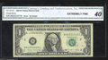 Error Notes:Ink Smears, Fr. 1914-B $1 1988 Federal Reserve Note. CGA Extremely Fine ...