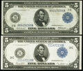 Large Size:Federal Reserve Notes, Fr. 848 $5 1914 Federal Reserve Note Fine-Very Fine;. Fr. 855c $5 1914 Federal Reserve Note Extremely Fine.