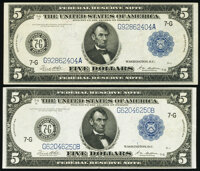 Fr. 871a $5 1914 Federal Reserve Note Very Fine; Fr. 871c $5 1914 Federal Reserve Note Very Fine-Extremely Fine. ... (To...