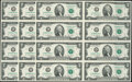 K-C Block $2 Lucky Money Fr. 1939-K 2009 Federal Reserve Notes Uncut Sheets of Eight Three Consecutive Examples Gem Cris...