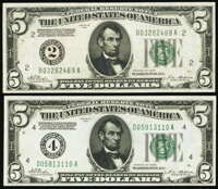 Fr. 1950-B; D $5 1928 Federal Reserve Notes. Very Fine; Choice About Uncirculated. ... (Total: 2 notes)