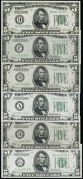 Small Size:Federal Reserve Notes, Fr. 1952-B $5 1928B Federal Reserve Note. Choice Crisp Uncirculated;. Fr. 1956-F; H $5 1934 Mule Federal Reserve Notes. Ch... (Total: 6 notes)