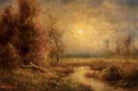Thomas B. Griffin (American, 1858-1918) Moonlit Marsh Oil on canvas 16 x 24 inches (40.6 x 61.0 cm) Signed lower lef