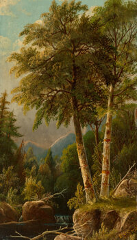 Daniel Charles Grose (American, 1865-1910) Landscape with Birches Oil on board 12 x 7 inches (30.5 x 17.8 cm) Signed