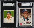 Baseball Cards:Lots, 1948 to 1955 Bowman, Johnston Cookies and Leaf Baseball Shoebox Collection (48)....