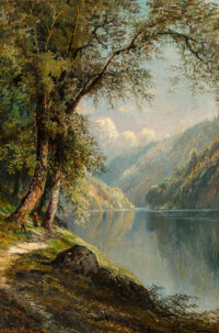 Edmund Darch Lewis (American, 1835-1910) Path by the Lake, 1877 Oil on canvas 30 x 20 inches (76.2 x 50.8 cm) Signed