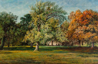 Edmund Darch Lewis (American, 1835-1910) Landscape with Trees, 1874 Oil on canvas 11 x 17 inches (27.9 x 43.2 cm) Si