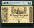 Port Richmond, NY- Staten Island Bank $1,000 18__ G16 Proof PMG About Uncirculated 55