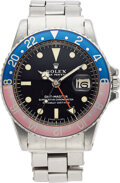 Timepieces:Wristwatch, Rolex Fine Stainless Steel GMT-Master Wristwatch Ref: 1675, with Mark 1 Long E Dial, circa 1970. ...