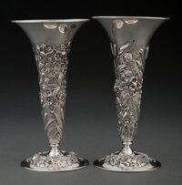 A Pair of S. Kirk & Son Co. Silver Repoussé Vases, Baltimore, Maryland, 1896-1924 Marks: S. Kirk & Son Co...