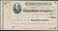 Columbus, OH- Treasurer of State $15.20 Dec. 19, 1881 Very Fine-Extremely Fine, 2 CCs