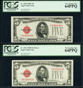 Fr. 1528 $5 1928C Legal Tender Note. PCGS Very Choice New 64PPQ; Fr. 1531 $5 1928F Wide I Legal Tender Note. PCGS Very C...