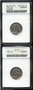 Buffalo Nickels: , 1921 5C --Cleaned--ANACS, AU Details, Net XF45, a very ... (2 Coins)