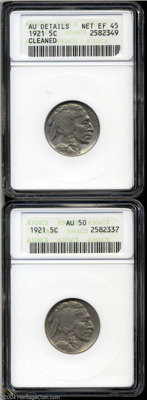 1921 5C --Cleaned--ANACS, AU Details, Net XF45, a very sharp example, very lightly cleaned, a few minor abrasions on the...