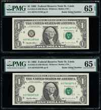 Radar Serial Numbers 07811870 and 07922870 Fr. 1922-H $1 1995 Federal Reserve Notes. PMG Gem Uncirculated 65 EPQ. ... (T...
