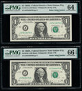 Radar Serial Numbers 07633670 and 07644670 Fr. 1916-J $1 1988A Federal Reserve Notes. PMG Choice Uncirculated 64; Gem Un...