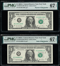 Radar Serial Number 11699611 and Repeater Serial Number 11691169 Fr. 1930-B $1 2003A Federal Reserve Notes. PMG Superb G...