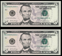 Rollover Pair 09994999-09995000 Fr. 1998-B $5 2017A Federal Reserve Notes. Crisp Uncirculated or Better. ... (Total: 2 n...
