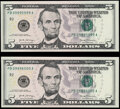 Rollover Pair 09995999-09996000 Fr. 1998-B $5 2017A Federal Reserve Notes. Crisp Uncirculated. ... (Total: 2 notes)