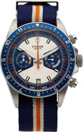 Timepieces:Wristwatch, Tudor Stainless Steel Heritage Blue Chronograph Wristwatch, Ref: 70330B with Box & Papers, circa 2014. ... (Total: ...