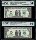 Radar Serial Numbers 89033098 and 89044098 Fr. 1930-F $1 2003A Federal Reserve Notes. PMG Gem Uncirculated 66 EPQ. ... (...