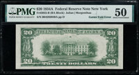 Gutter Fold Error Fr. 2055-B $20 1934A Federal Reserve Note. PMG About Uncirculated 50