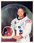 Explorers:Space Exploration, Neil Armstrong Signed, Uninscribed White Spacesuit Color Photo, with LOA from Astronaut Archives....