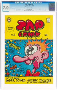 Zap Comix #2 Head First Miscut (Apex Novelties, 1968) CGC FN/VF 7.0 Off-white to white pages