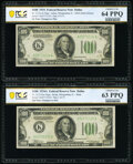 Fr. 2152-A/Fr. 2153-A $100 1934/1934A Federal Reserve Notes. Changeover Pair. PCGS Banknote Graded Choice Unc 64 PPQ; Ch...