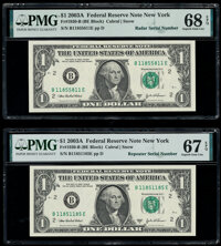 Radar Serial Number 11855811 and Repeater Serial Number 11851185 Fr. 1930-B $1 2003A Federal Reserve Notes. PMG Superb G...