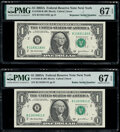 Small Size:Federal Reserve Notes, Radar Serial Number 11833811 and Repeater Serial Number 11831183 Fr. 1930-B $1 2003A Federal Reserve Notes. PMG Superb Gem Unc... (Total: 2 notes)