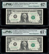 Radar Serial Number 11833811 and Repeater Serial Number 11831183 Fr. 1930-B $1 2003A Federal Reserve Notes. PMG Superb G...