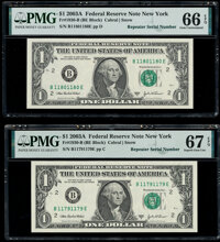 Repeater Serial Numbers 11791179 and 11801180 Fr. 1930-B $1 2003A Federal Reserve Notes. PMG Superb Gem Unc 67 EPQ; Gem...