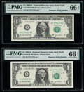 Repeater Serial Numbers 11731173 and 11751175 Fr. 1930-B $1 2003A Federal Reserve Notes. PMG Gem Uncirculated 66 EPQ...