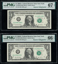 Repeater Serial Numbers 11681168 and 11701170 Fr. 1930-B $1 2003A Federal Reserve Notes. PMG Superb Gem Unc 67 EPQ; Gem...