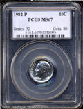 Roosevelt Dimes: , 1982-P 10C MS67 PCGS. A brilliant and somewhat prooflike ...