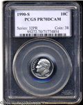 Proof Roosevelt Dimes: , 1990-S 10C PR70 Deep Cameo PCGS. Fully struck and ...