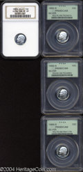 Proof Roosevelt Dimes: , 1992-S 10C Silver PR69 Deep Cameo PCGS, spectacular white ... (4coins)