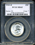 Washington Quarters: , 1935-D 25C MS65 PCGS. Well struck with fine satiny luster,...