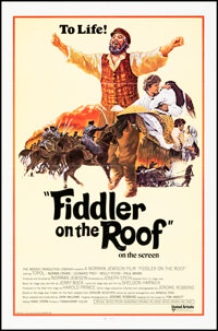 """Fiddler on the Roof (United Artists, 1971). Folded, Very Fine. International One Sheet (27"""" X 41"""") Ted Coconis..."""