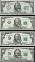 Small Size:Federal Reserve Notes, Fr. 2105-B $50 1934C Federal Reserve Note. Choice Crisp Uncirculated;. Fr. 2114-C; J $50 1969 Federal Reserve Notes. Choic... (Total: 4 notes)