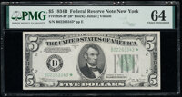 Fr. 1958-B* $5 1934B Federal Reserve Star Note. PMG Choice Uncirculated 64